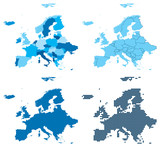 Europe four different blue maps