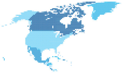 North America dotted blue