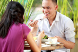 young couple have a lunch together