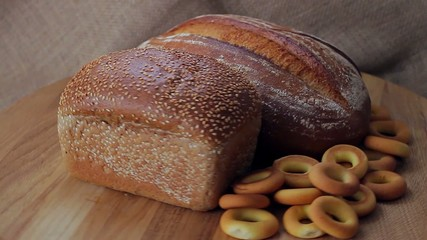Rye and wheat bread with sesame seeds and bagels