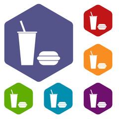 Fast food rhombus icons