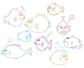 funny fishes, vector lineart