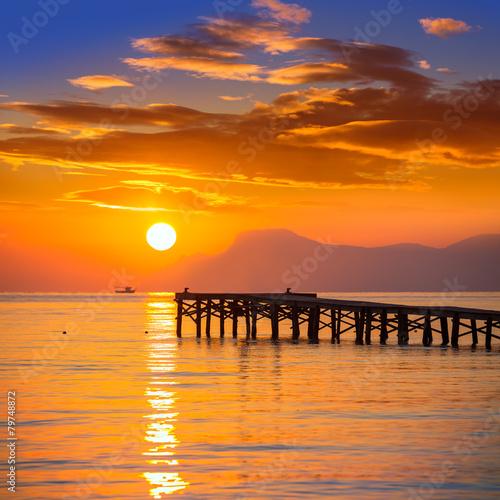 Leinwanddruck Bild Majorca Muro beach sunrise Alcudia Bay Mallorca