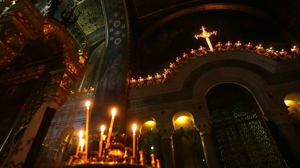 Candles in the interior  of the Orthodox Cathedral