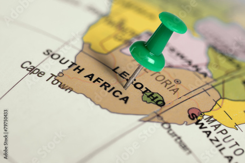 Foto op Plexiglas Afrika Location South Africa. Green pin on the map.