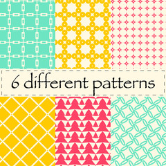 Set of seamless different patterns / backgrounds, circles, grid,