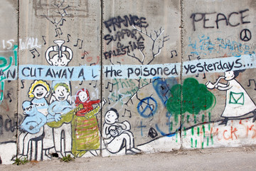 Bethlehem - The Detail of graffitti on the Separation barrier.