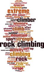 Rock climbing word cloud concept. Vector illustration
