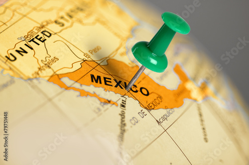 Plexiglas Mexico Location Mexico. Green pin on the map.