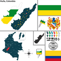 Map of Huila, Colombia
