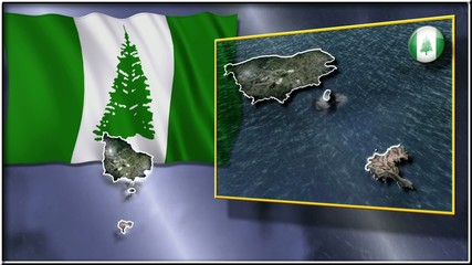 Norfolk Island flag and map animation