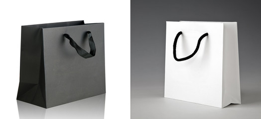 Black and white shopping bags.