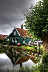Typical Dutch houses. Zaandam, Holland