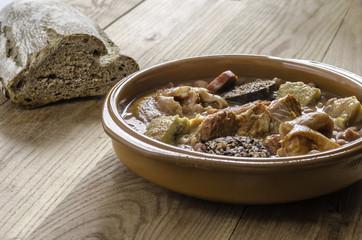 Olla podrida, spanish red bean stew with chorizo.