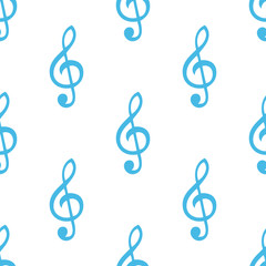 Treble clef seamless pattern