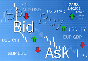 Foreign exchange market concept illustration