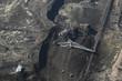 Large excavators in coal mine, aerial view