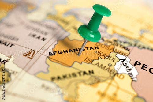Foto op Canvas Canada Location Afghanistan. Green pin on the map.