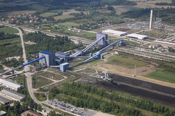 Power plant in coal mine, aerial view
