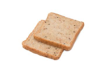 Slice whole wheat bread isolated on white background