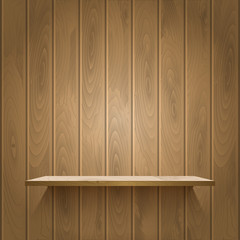 Wooden shelf on the wall