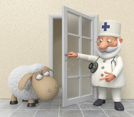 The 3D doctor in hospital with a lamb