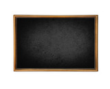 Blank chalkboard in wooden frame isolated on white