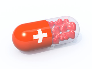 red pill filled with hearts