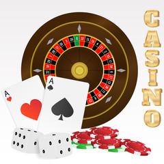 Illustration of Casino Elements On White Background