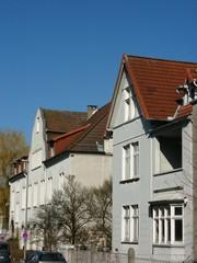 Alte Häuser mit Giebel in der Bielefelder Sudbrackstraße