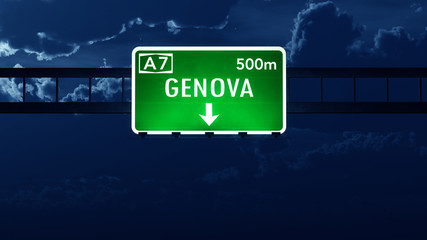 Genova Italy Highway Road Sign