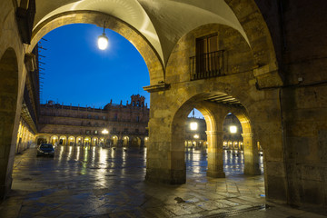 Closeup view of  Plaza Mayor  in evening