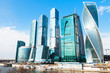 Towers of Moscow City business district in spring