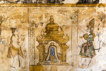 Mural inside Brihadishwara Temple in Tanjore - South India
