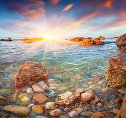 Colorful spring sunrise on the Tyrrhenian sea