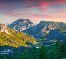 Colorful sunrise on the Durrenstein and Birkenkofel ranges