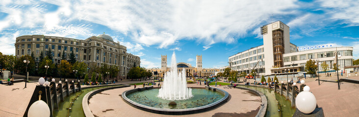 Summer day panorama of the station square in Kharkiv
