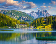 Leinwanddruck Bild - Beautiful summer morning on the Lake Misurina