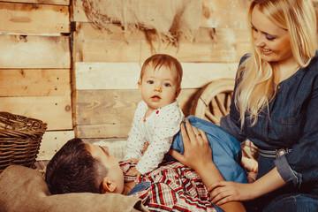 Happy village family