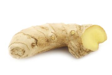 Ginger (Zingiber officinale) on a white background