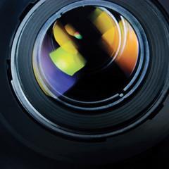 Lens and hood, large detailed macro zoom closeup