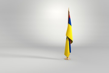 Ecuador isolated flag on a wooden mast 3d illustration