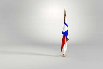 Bahia state isolated flag on a wooden mast 3d illustration