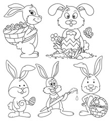 Easter Bunny Cartoon Characters Lineart Set