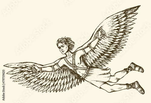 Icarus, character of ancient Greek legend. Vector drawing - 79759620