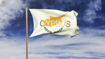 Cyprus flag with title waving in the wind. Looping sun rises