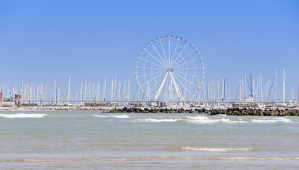 A ferris wheel on the sea