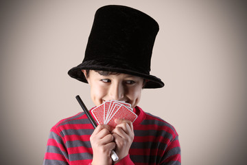 Young expressive magician with vintage colors