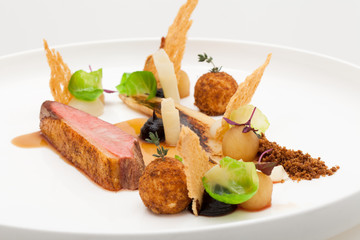 Duck Breast - Apple - Plum - Bread