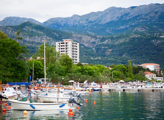 Budva harbor with various types of boats. Montenegro.